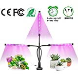 Grow Light, ZXMEAN Upgraded 30W LED Plant Light Bulb Auto On/Off Cycle Timing Grow Lamp Full Spectrum, 3/6/12H Timer, 3-Head Divide Control Adjustable Gooseneck, 5 Dimmable Levels for Indoor Plants