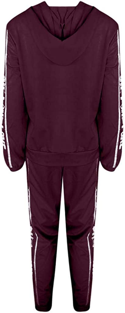 Womens 2 Pcs Tracksuit Casual Stripe Zipper Long Sleeve Pullove Sport Tops+Long Pants Set Womens Hoodies Sweatsuits