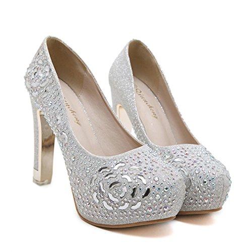 Xianshu Zapatos de tacón impermeable del club nocturno de la flor de los Rhinestones de Bling altos(Plateado-36)