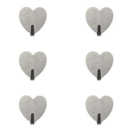 autoadhesivo titular de la clave puerta toalla percha soporte de pared para colgar gancho para toalla de mano Llaves gorro raqueta (6pack heart hooks)