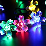 Solar String Lights 50LED 23FT Ucharge Led Fairy Blossom Garden Flower Lights Waterproof Colorful Lights for Outdoor, Home, Patio, Lawn, Holiday, Party, Wedding, Garden Decoration