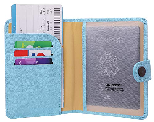 Zoppen Rfid Blocking Travel Passport Holder Cover Slim Id Card Case (#6 skyblue)