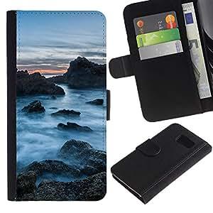 KLONGSHOP // Tirón de la caja Cartera de cuero con ranuras para tarjetas - Rocas Nubladas - Samsung Galaxy S6 //