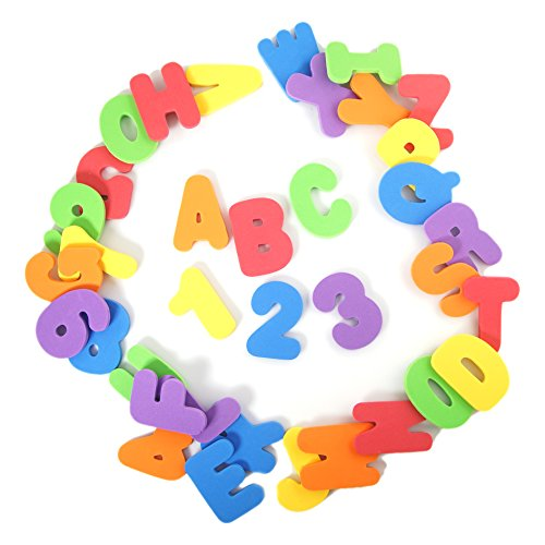 BonBon 36-Count Non-Toxic Alphabet Toddler Bath Toys Educational Number Letters ()