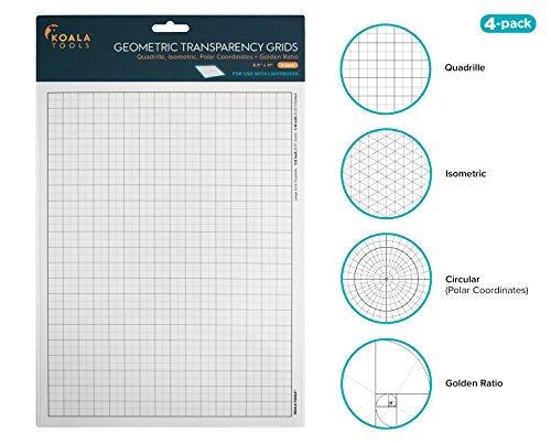 Koala Tools | Geometric Grid Transparency Sheets (Variety Pack of 4) - 8.5