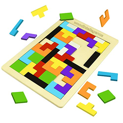 LET'S GO! Game for Kids Ages 3-8, Wooden Tetris Puzzle Toys for 3-8 Year Old Boys Girls Birthday Gifts Age 3-8 Education Games Puzzles for Kids Ages 3-8 Colorful DMEL1]()