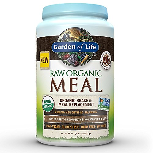 Garden of Life Meal Replacement - Organic Raw Plant Based Protein Powder, Chocolate, Vegan, Gluten-Free, 35.9 Oz Powder