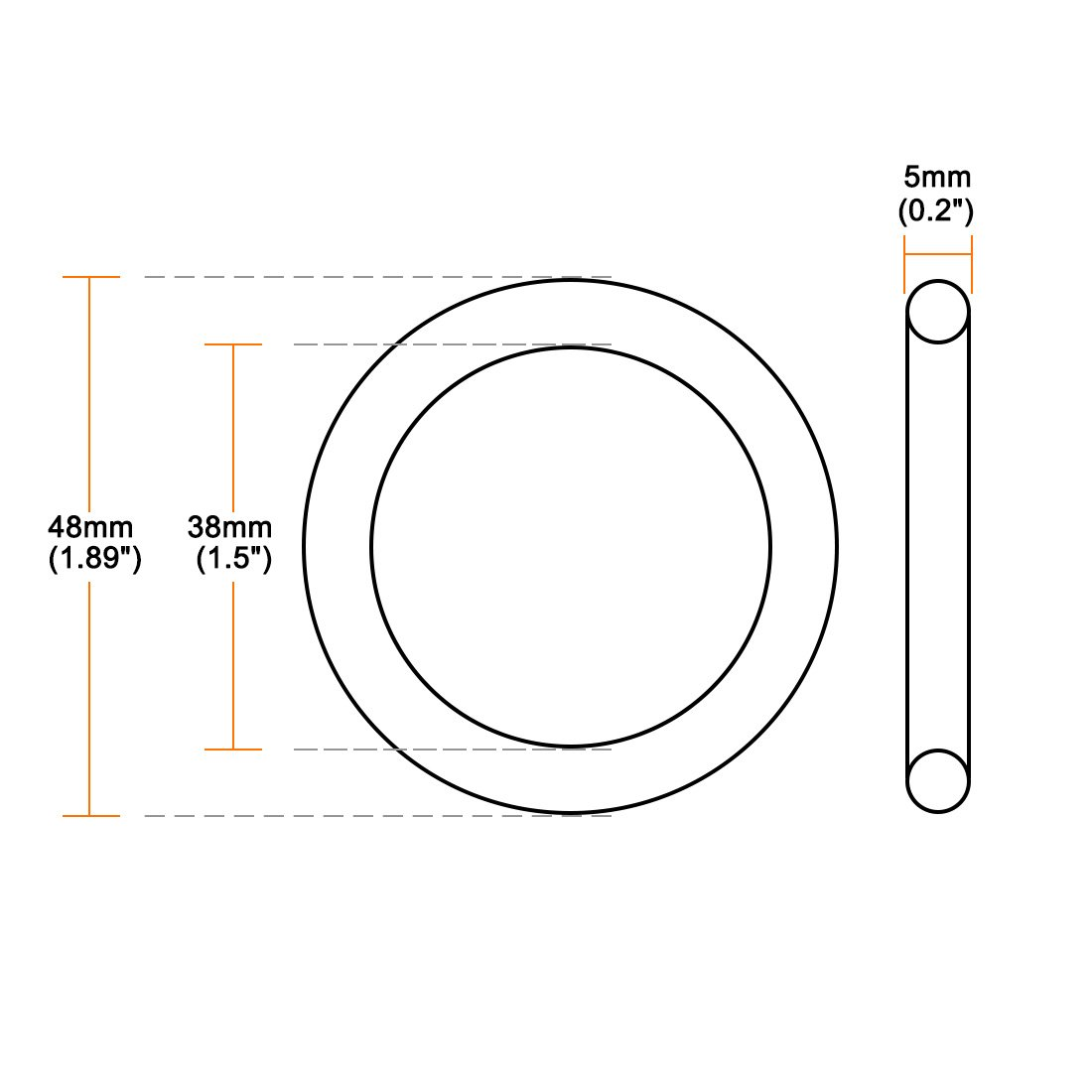 uxcell O-Rings Nitrile Rubber 38mm Inner Diameter Round Seal Gasket 5mm Width Pack of 10 48mm OD