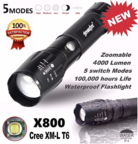 Willsa 5000LM Tactical LED Flashlight Zoomable Super Bright Military Lamp X800 (Eclipse Club Chair)