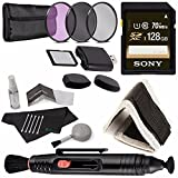 Sony 128GB UHS-I SDXC Memory Card (Class 10) + 72mm 3 Piece Filter Set (UV, CPL, FL) + Memory Card Wallet + SD/microSD Memory Card Reader + Lens Pen Cleaner + 5 piece Lens Cleaning Kit Bundle