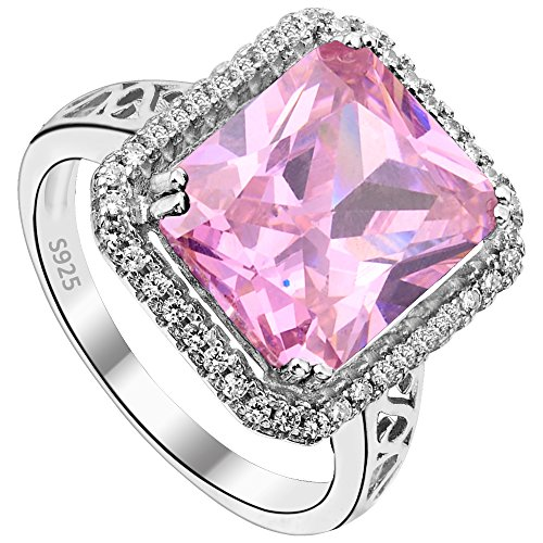 EVER FAITH Women's 925 Sterling Silver 5 Carats Radiant Cut CZ Elegant Ring Pink - Size 9