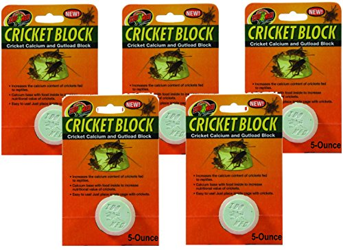 - (5 Pack) Zoo Med Cricket Blocks Featuring Gutload and Calcium, 5-Ounce each