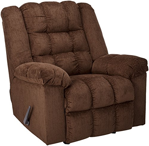 Ashley Furniture Signature Design – Ludden Rocker Recliner – 1 Pull Manual Reclining Sofa – Contemporary – Cocoa Brown