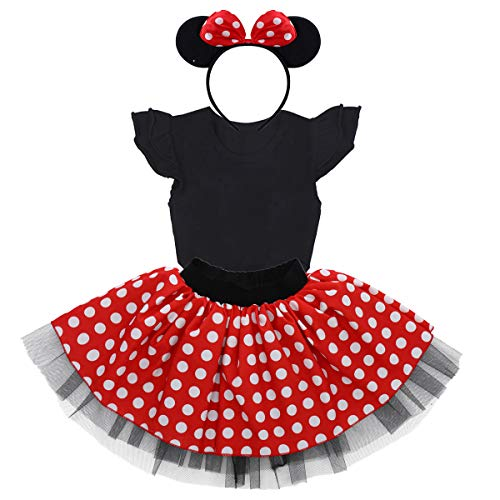 Baby Toddler Girl Mouse Costume Onesie Polka Dot Tutu Skirt Headband Outfits Birthday Party Halloween Fancy Dress up 12-18 -