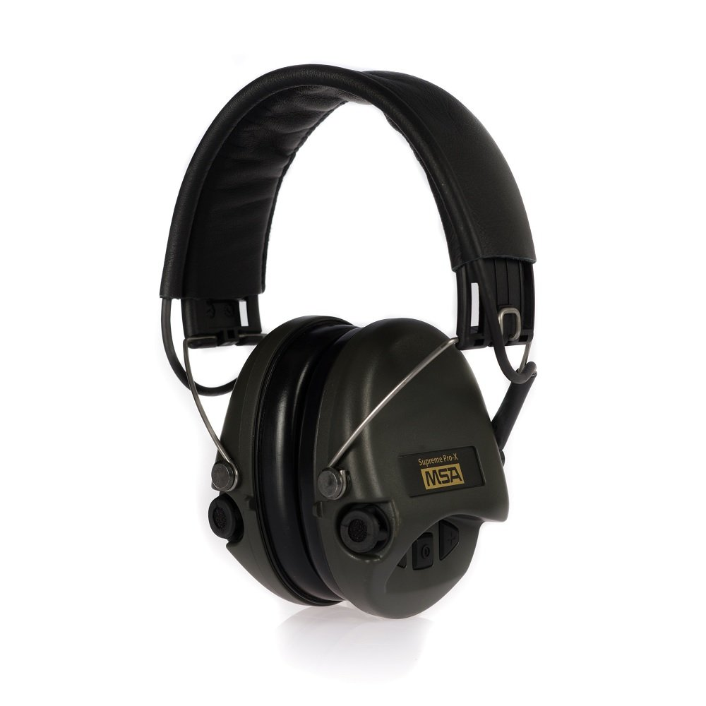 MSA Sordin Supreme Pro X - Standard Edition - Electronic Earmuff with black leatherband, green cups and foam seals fitted