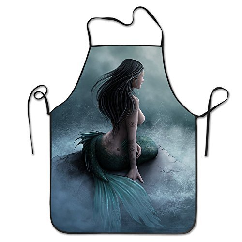 Tyrence Mermaid Pirate Ship Adjustable Apron For Kitchen BBQ Barbecue Cooking Chef Waitress Great Gift For Wife Ladies Men Boyfriend -