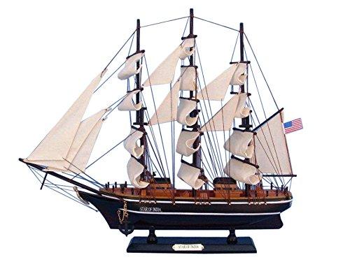 Hampton Nautical Wooden Star of India Tall Model Ship, 24