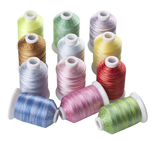 Color Chart Embroidery - 12 Variegated Color Polyester Embroidery Machine Thread for Most Home Embroidery Machines 1100 Yards Each