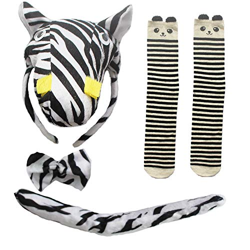 Kids Halloween Christmas Party Costume Accessories Kit- Mouse Dalmatian Antlers Wolf Headband,Tie,Tail,Sock, for Boy & Girls,Antlers]()