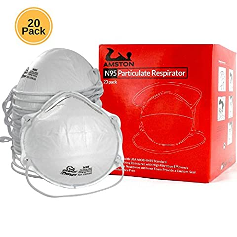 AMSTON Dust Masks, N95 NIOSH-Certified (Box of 20) Personal Protective Equipment / PPE Particulate Respirators for Construction, Home Improvement, & DIY Projects.