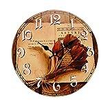[Rosa] Reloj de pared de madera del vintage de 14 pulgadas Reloj de pared silencioso decorativo del no-ticking