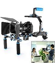 Neewer Aluminum Film Movie Kit System Rig for DSLR Cameras, Includes:(1) C-Shape Bracket+(1) Handle Grip+(2)15mm Rod+(1) Matte Box+(1) Follow Focus+(1) Shoulder Rig+(1)2.5 lbs/1.1 kg Counter Weight