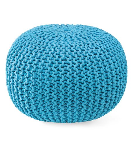 HandKnitted Pouf Ottoman In Turquoise Buy Online In UAE Lawn Magnificent Turquoise Knitted Pouf