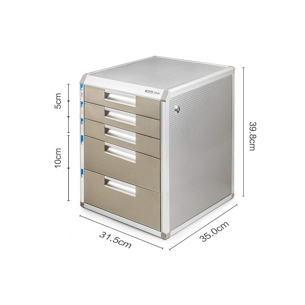 QSJY File Cabinets Document Storage Cabinet, Desktop Extension Drawer Lockable Office Organizer (Wood Board/Aluminum Alloy/Plastic) 35x31.5x39.8cm