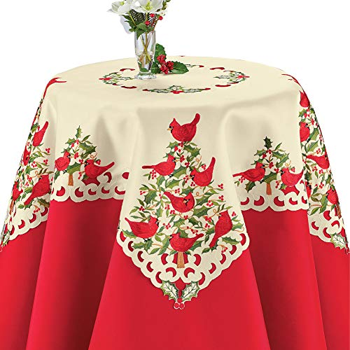 Collections Etc Cardinals and Holly Christmas Table Linens, Elegant Embroidery with Cutwork, Square