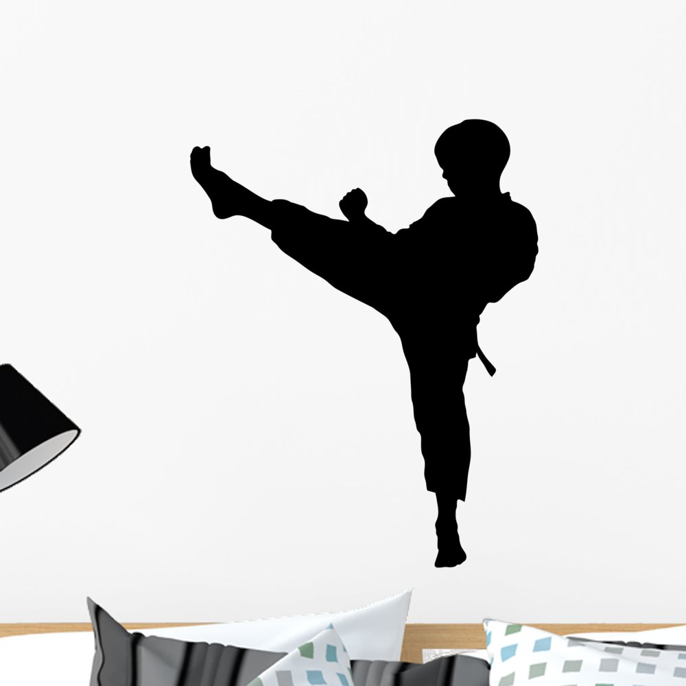Wallmonkeys Boy Karate Kick Mae Gery Wall Decal Peel and Stick Graphic WM187003 (24 in H x 24 in W)