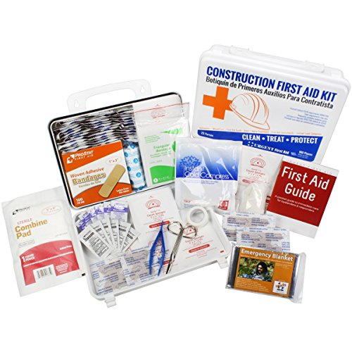Osha Contractors First Aid Kit For Job Sites Up To 25 People By Urgent First Aid    180 Pieces In Gasketed Plastic Case To Keep Out Moisture   Dust   Be Osha Compliant   Extra First Aid Item Content