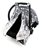 Dear Baby Gear Deluxe Reversible Car Seat Canopy, Custom Minky Print, Fish on Grey / Grey Tan Plaid