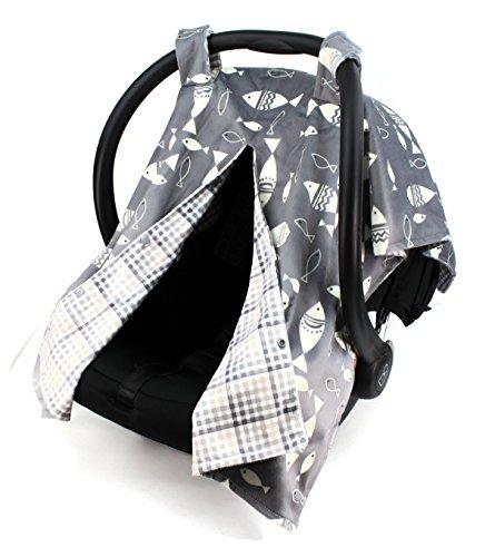 Dear Baby Gear Deluxe Reversible Car Seat Canopy, Custom Minky Print, Fish on Grey/Grey Tan Plaid