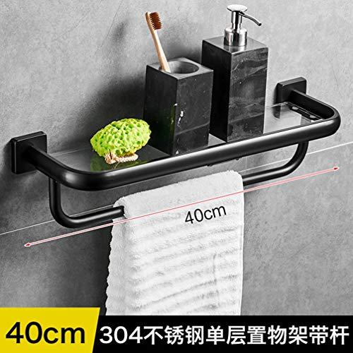 LUDSUY Black 304 Stainless Steel Bathroom Glass Shelf Rack Front Wall Bathroom -