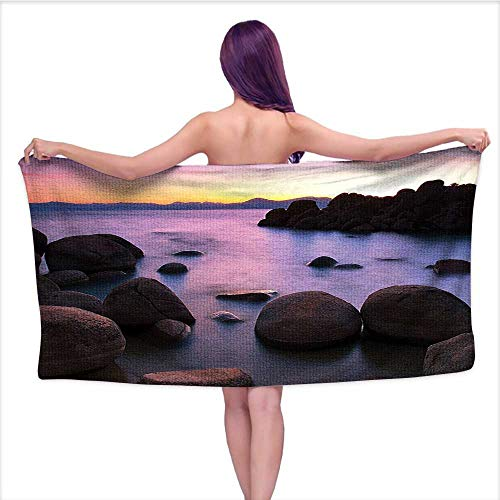 Leigh home Bath Towel, L Exposure Still Lake Rocks Blurred Water Misty Color Sky Scener,Beach Towels for Kids & Adults, Pool, Swim, Water Sports W 27.5