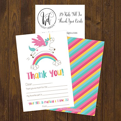 25 Unicorn Kids Thank You Cards, Fill In Thank You Notes For Kid, Blank Personalized Thank Yous For Birthday Gifts, Stationery For Children Boys and Girls Photo #4