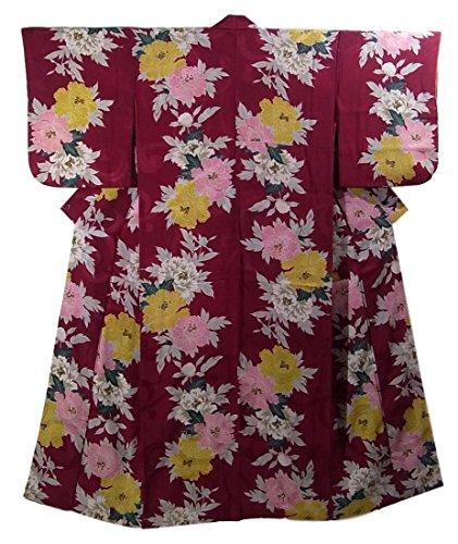 アンティーク 着物 牡丹の花模様 裄62.5cm 身丈151cm 正絹 袷