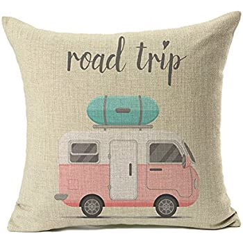 4TH Emotion Happy Camper Pillow Cover Retro Rv Decorative Throw Cushion Case 18 x 18 Inch Cotton Linen(Road Trip)
