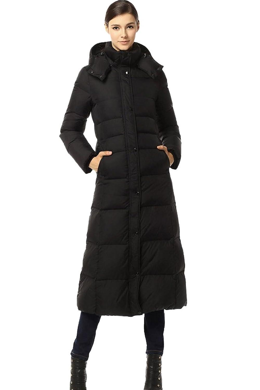 queenshiny Damen Lange Daunenjacke Mantel Jacke mit Kapuze unterhalb der Knie Mode Winter