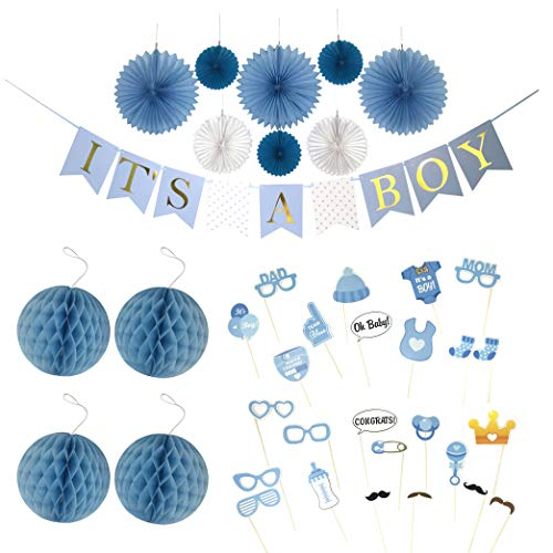 Paikō Baby Shower Decorations for a Boy | 'IT'S A BOY' Gold Foil Lettered Banner, FUN 25 Piece Photo Props, Sash, Honeycomb Balls, Paper fans, Nursery room Decor Kit