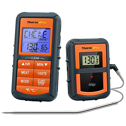 ThermoPro TP07S Wireless Meat Thermometer for Single probe, Black and Orange