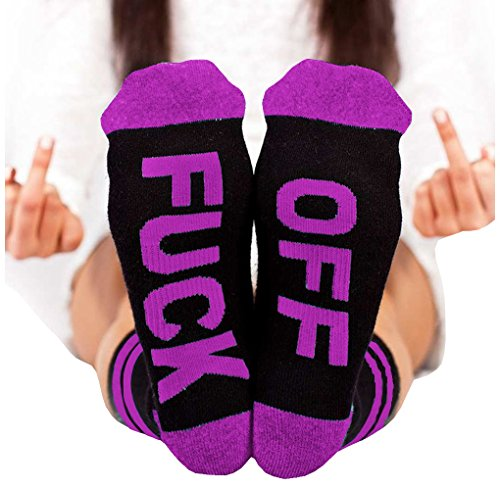 Socks FUCK OFF Ribbed Knit Half Crew Socks Fall Winter Ferbia Unisex Embroidery Swear Word Curse Printed Stockings