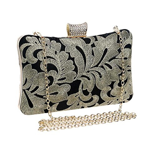 Party Embroidered Sparkly Clutch Gold Bag Womens Evening Shoulder Lgsvb Prom UtwxnqHFFE