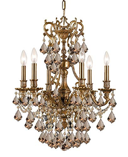 Crystorama 5146-AG-GT-MWP, Yorkshire Crystal 1 Tier Chandelier Lighting, 6 Light, 360 Watts, Brass