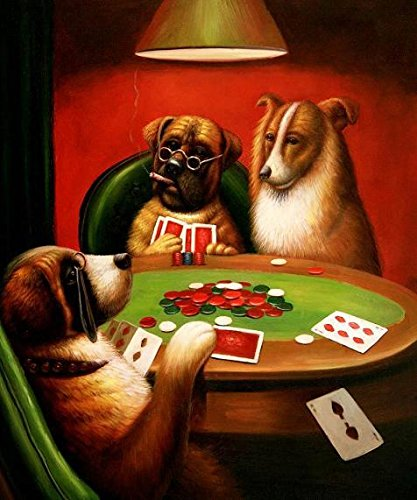 Oil Painting 'Three Dogs Playing Cards Around The Table' 24 x 29 inch / 61 x 73 cm , on High Definition HD canvas prints is for Gifts And Home Office, Living Room And Powder Room