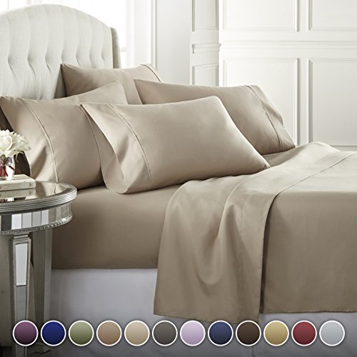 6 Piece Hotel Luxury Soft 1800 Series Premium Bed Sheets Set, Deep Pockets, Hypoallergenic, Wrinkle & Fade Resistant Bedding Set(Queen, Taupe) from Danjor Linens