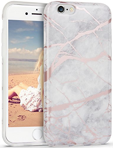 iPhone 6s Plus Case, Imikoko™ Flexible Case Print Crystal for iPhone 6s Plus (5.5 inch) - White Marble Pattern Slim Fit Snap On Hard Shell Back Case for iPhone 6/6S Plus (Grey)