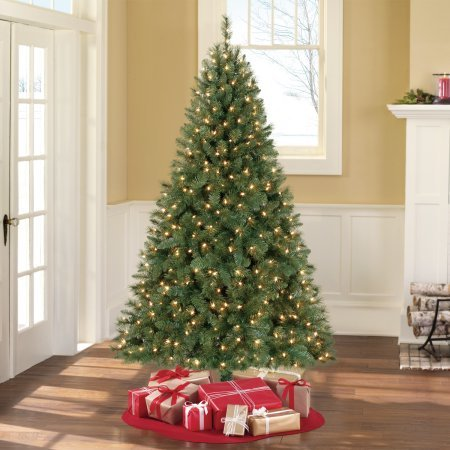 Artificial X-mas Tree Pre-Lit 6.5' Windham Pine, Clear-Lights w/ 25' extension cord with 3-wire plug outlets and 500W 12-foot length w/ 3 outlets 125V, 13A, 1.625W Electrical Cord