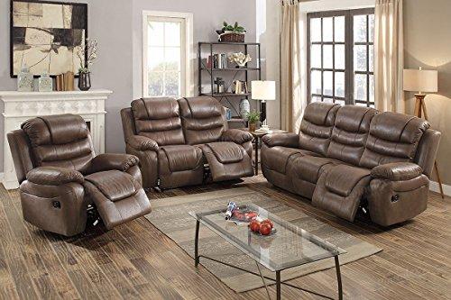 Motion Living Room Set - 3Pcs Dark Coffee Leather Motion Sofa Loveseat Chair Recliner Set for Living Room