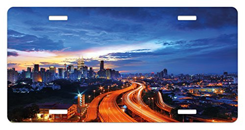 Lunarable Landscape License Plate, Asia Scenery Kuala Lumpur Cityscape Image Skyscrapers Highways Artwork Photo, High Gloss Aluminum Novelty Plate, 5.88 L X 11.88 W Inches, Multicolor